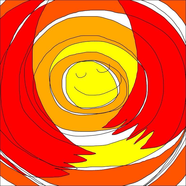 オレンジ色や黄色の暖色で囲まれた円の真ん中で微笑む魂のイラスト