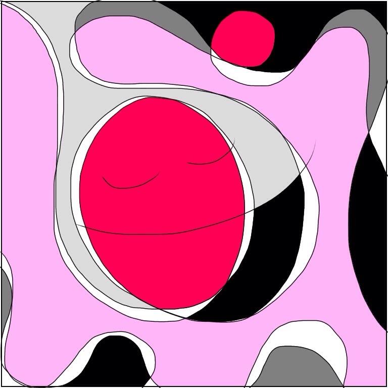 ピンクと黒色と灰色の中でジェットコースターのようなギャプの中を楽しく動いている魂のイラスト