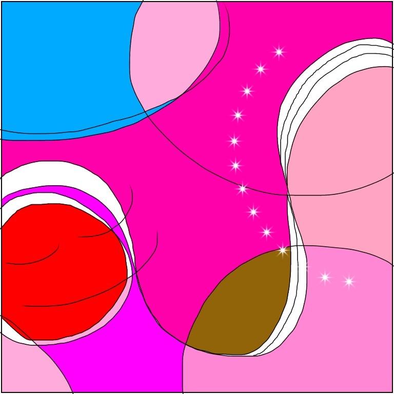 桃色と水色と赤色と茶色のふわふわとした凹凸のある道をコロコロと転がっていくような魂のイラスト