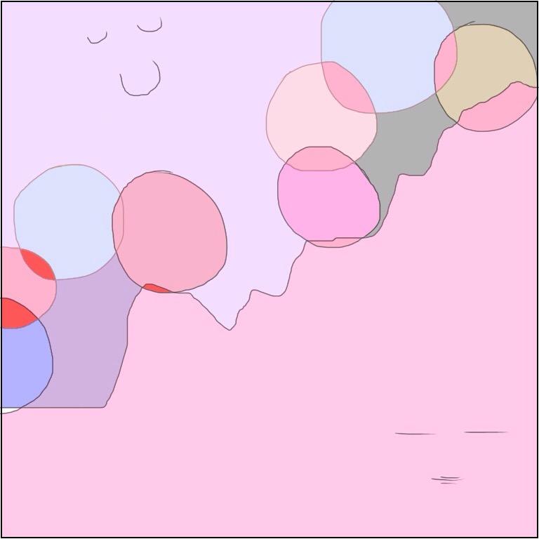 薄ピンク色の淡い色の中に上と下で違う表情をした目に見えない存在が微笑んでいる魂のイラスト